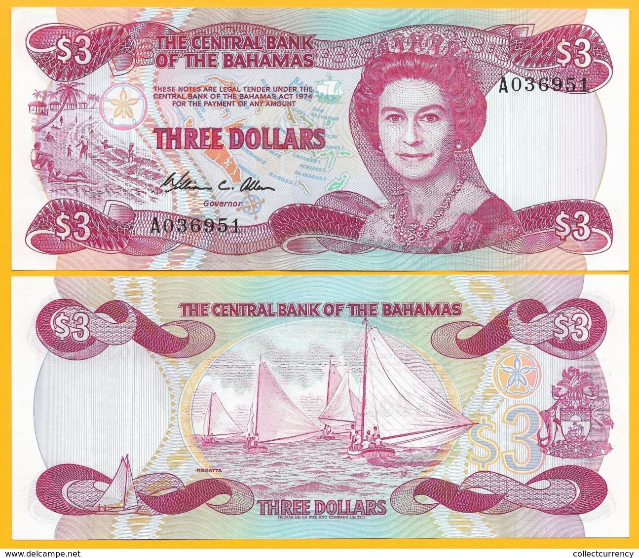 Bahamas 3 Dollars P-44 1984 UNC Banknote - Bahamas