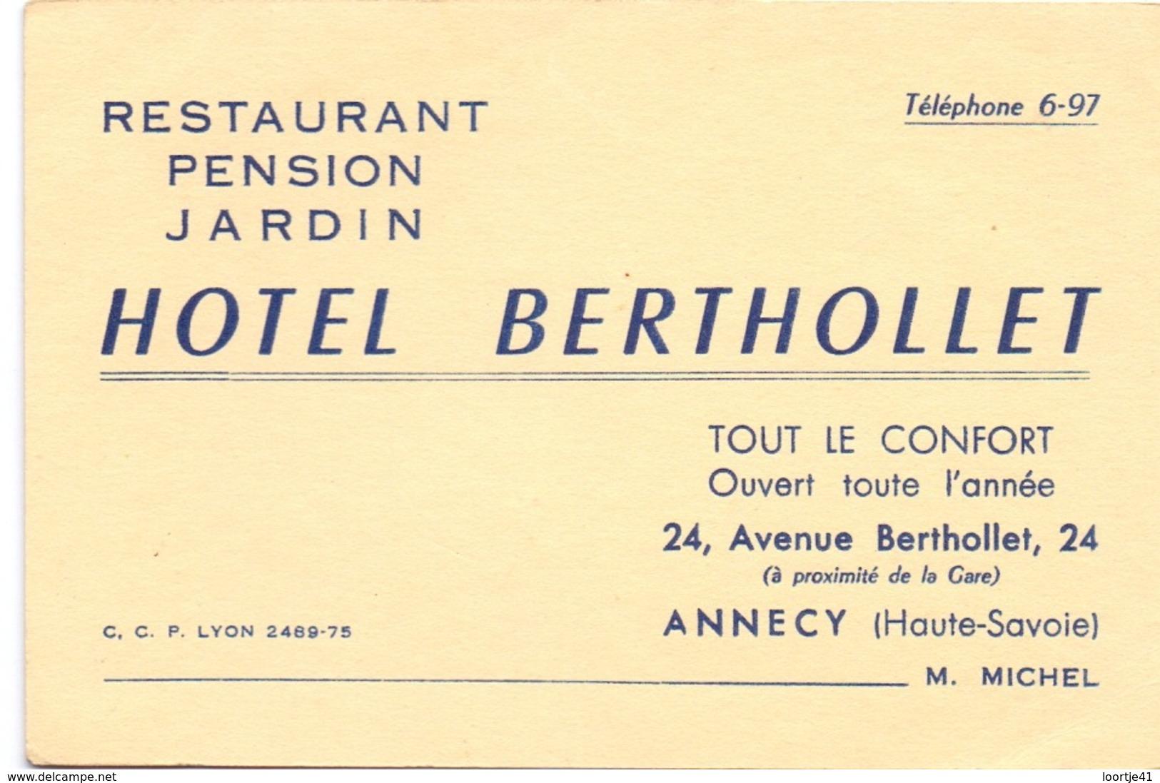 Visitekaartje - Carte Visite - Restaurant Pension - Hotel Berthollet à Annecy - Visiting Cards