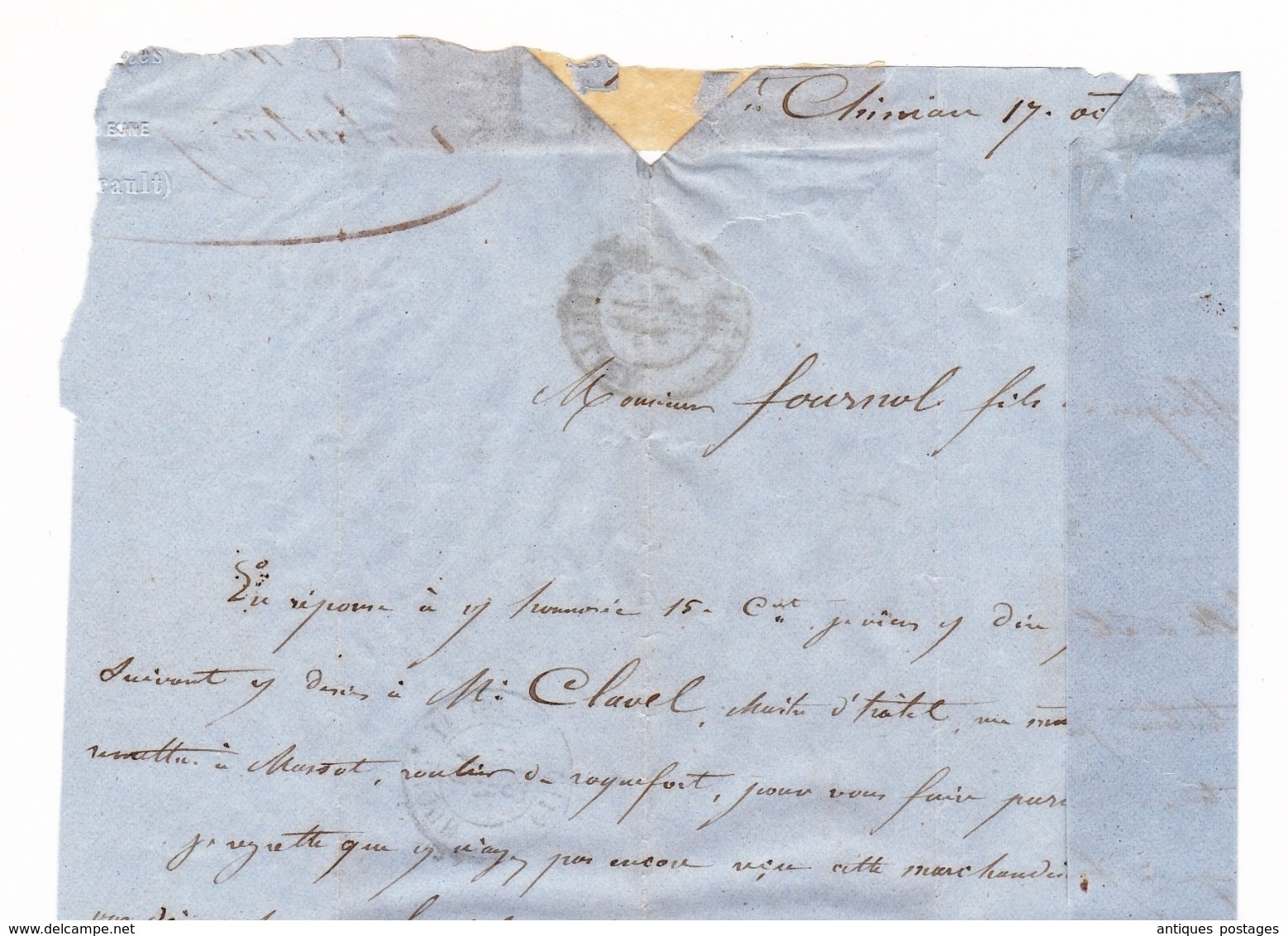 Lettre 1862 Saint Chinian Hérault Valentin Jeune Saint Affrique Aveyron - 1853-1860 Napoleon III