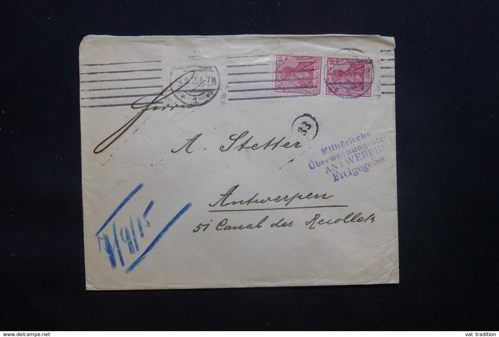 ALLEMAGNE - Enveloppe Commerciale De Hamburg En 1915 Pour Anvers Avec Cachet De Contrôle - L 43088 - Germany