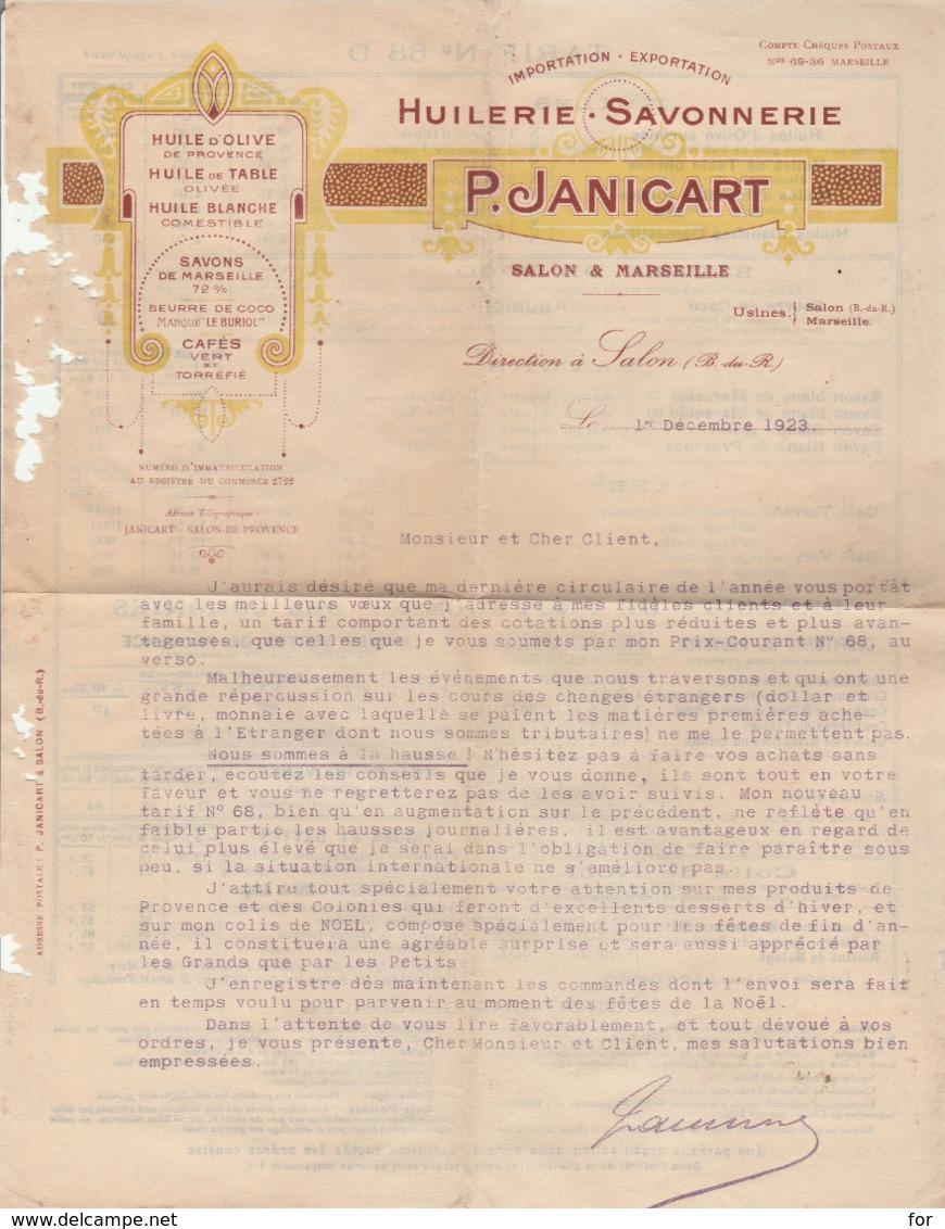 Huilerie - Savonnerie : P. JANICART : ( Salon De Provence - Bouches Du Rhone ) 1923 - Huile D'olives - Huile De Table - Chemist's (drugstore) & Perfumery