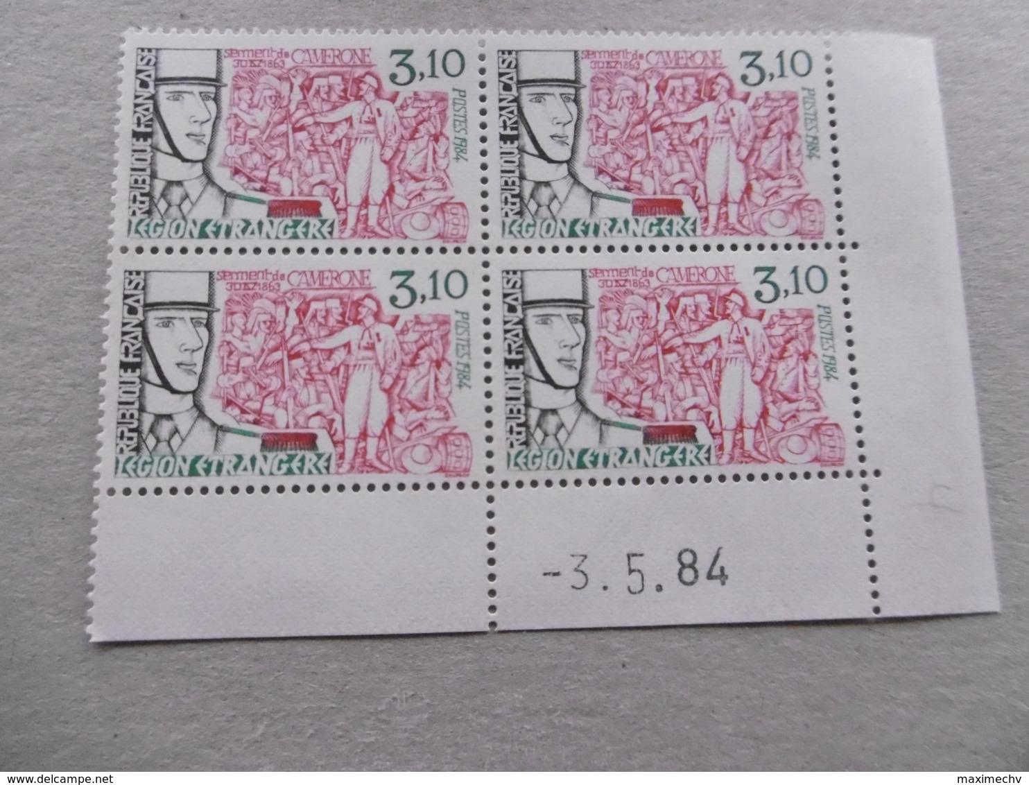 FRANCE 1984 No YT 2311 * * LEGION ETRANGERE  COIN DATE DU 03 05 84   BLOC DE 4 - Francia