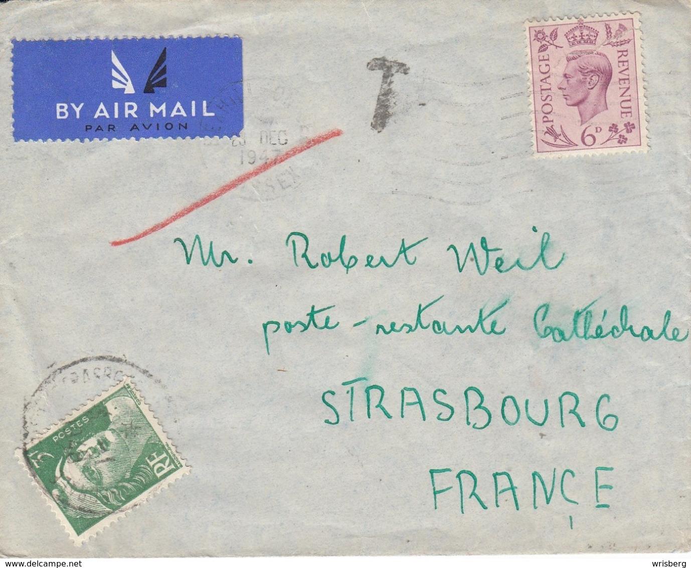 Env Affr 6D Obl BESHILL Du 26 DEC 1947 Adressée à Strasbourg Taxée 3 F - Poststempel (Briefe)