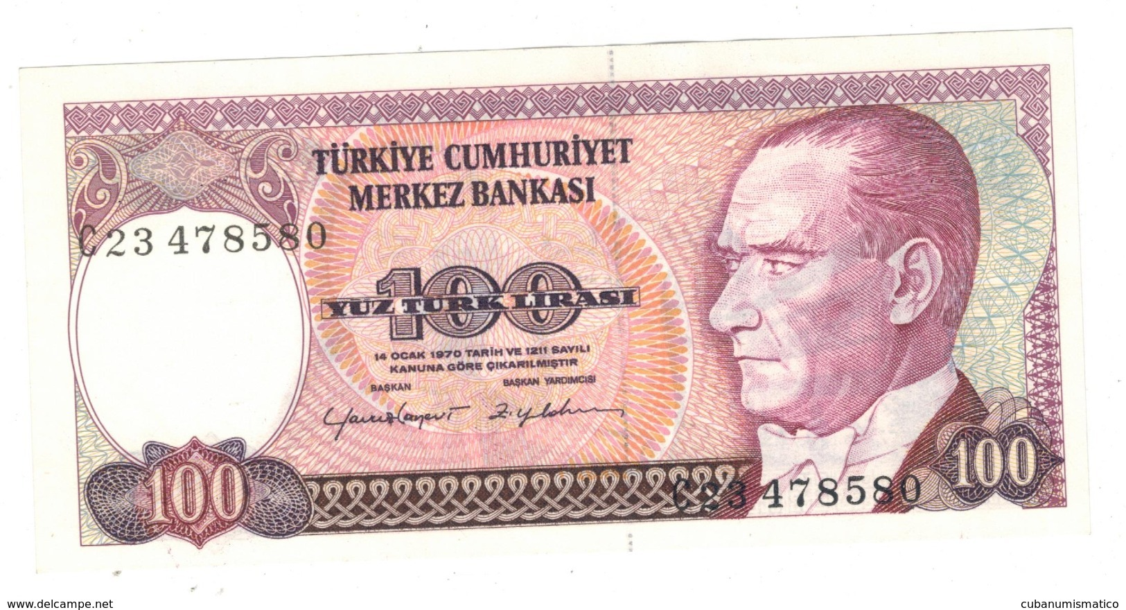 Turkey , 100 Lirasi , UNC. - Turchia