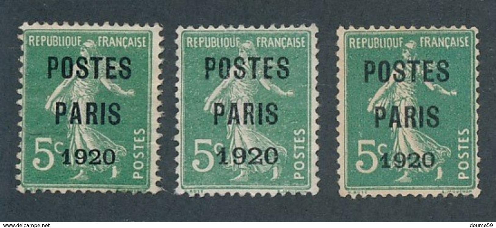 DB-296: FRANCE: Lot  Avec Préo N°24 (3) Sans Gomme Avec La Variété GRANDS CHIFFRES N°24c Au Milieu Des 3 - Préoblitérés