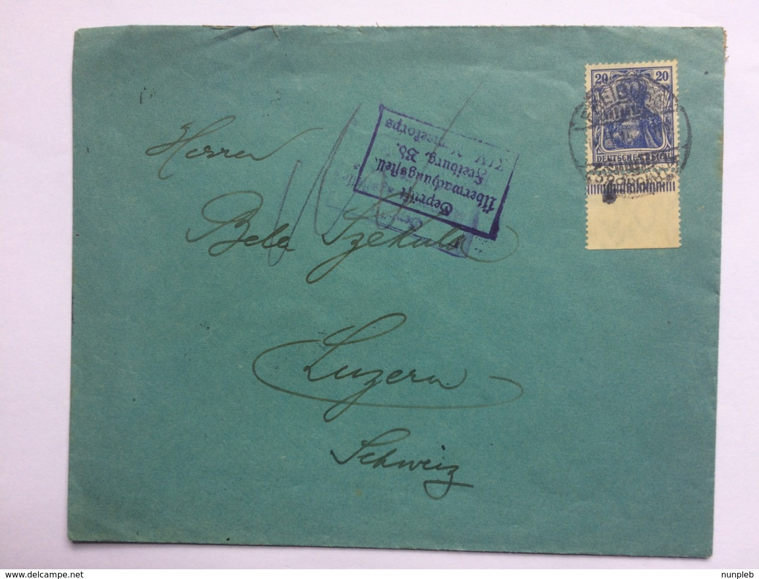 GERMANY 1915 Cover Freiburg To Luzern Switzerland With Gepruft Ubermachungstell Cachet - Allemagne
