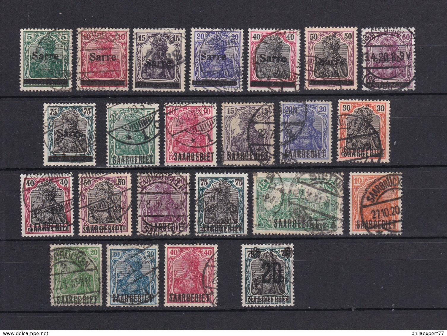 Saargebiet - 1920/21 - Sammlung - Gest. - Gebraucht
