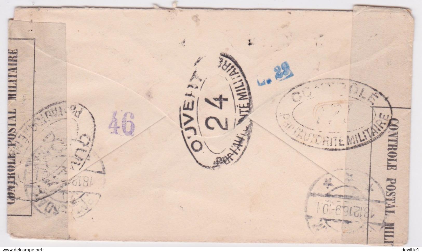TYPE SAGE SUR Enveloppe De  1916 De Calais  Vers Rotterdam  Controle Postal Militaire - Postmark Collection (Covers)