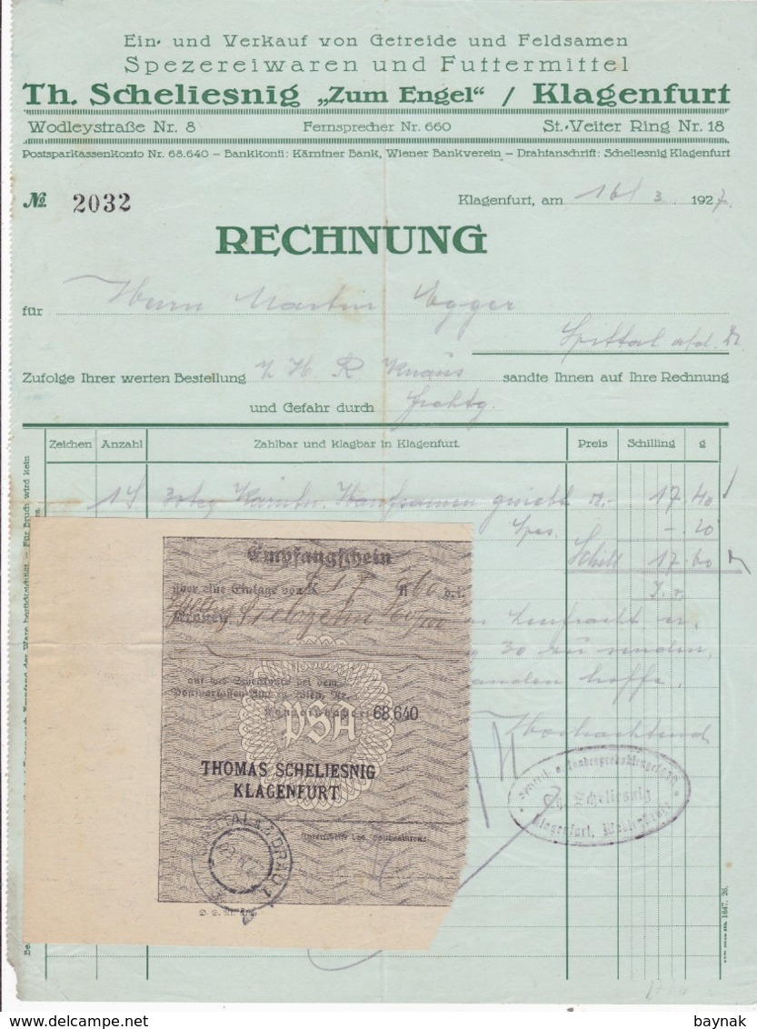 FACTURA, RECHNUNG   --  KLAGENFURT --  TH.  SCHELIESNIG  ,,  ZUM ENGEL ,,  --  1927 - Österreich