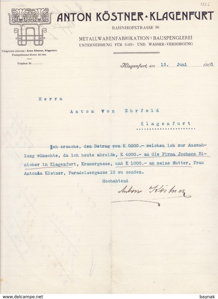 FACTURA, RECHNUNG   --  KLAGENFURT --   ANTON KOSTNER   --  1905 - Österreich
