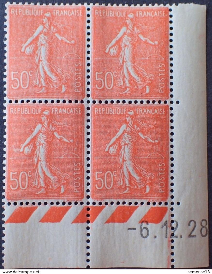 Semeuse 50 C. Rouge 199 En Bloc De 4 Coin Daté - 1903-60 Säerin, Untergrund Schraffiert