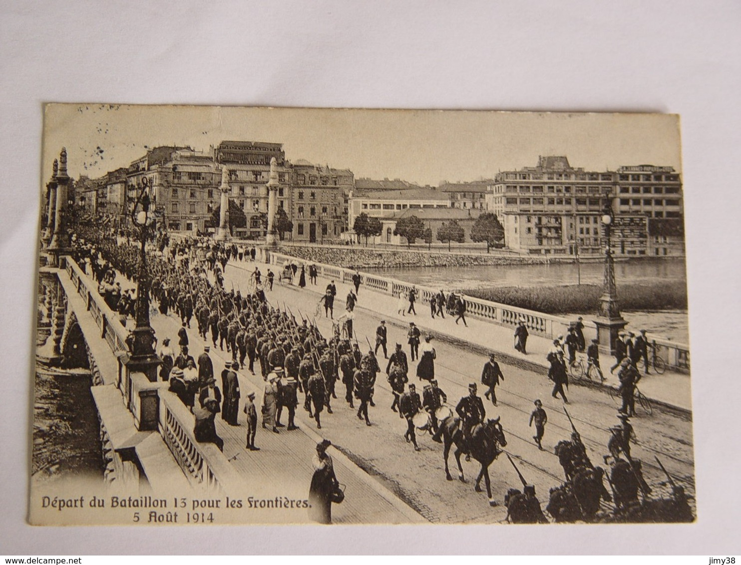 SUISSE-GENEVE-DEPART DU BATAILLON 13 POUR LES FRONTIERES 5 AOUT 1914-ANIMEE-8026-ED CHARNAUX FRERES ET C GENEVE - GE Genève