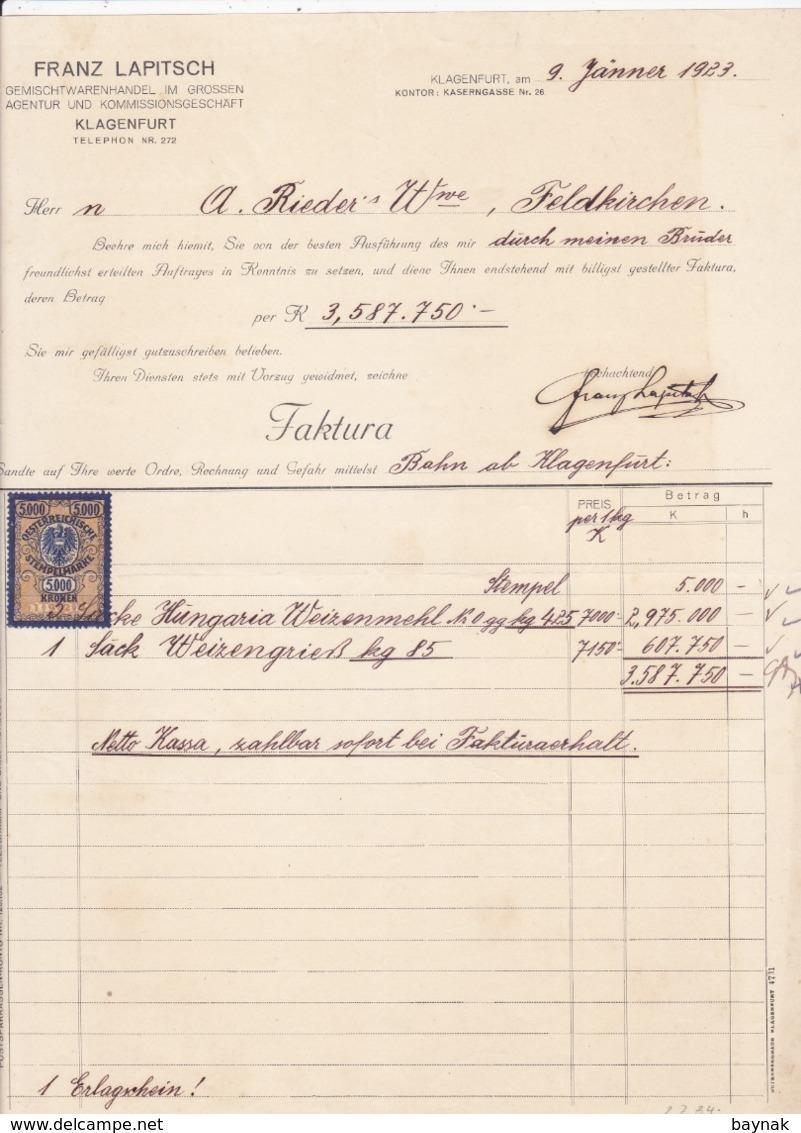 FACTURA, RECHNUNG   --  KLAGENFURT   --   FRANZ LAPITSCH  --  1923  --  MIT 5000 KRONEN  TAX STAMP  --  STEMPELMARKE - Österreich