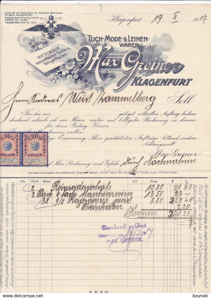 FACTURA, RECHNUNG   --  KLAGENFURT   --   MAX GREINER  --  1917  --  MIT 2 X 10 HELLER  TAX STAMP  --  STEMPELMARKE - Österreich