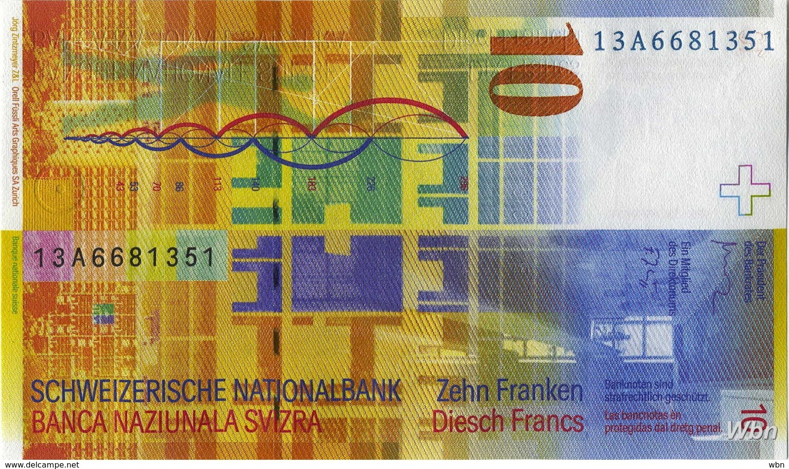 Suisse 10 Francs (P67e) 2013 (Pref: A) -UNC- - Suiza