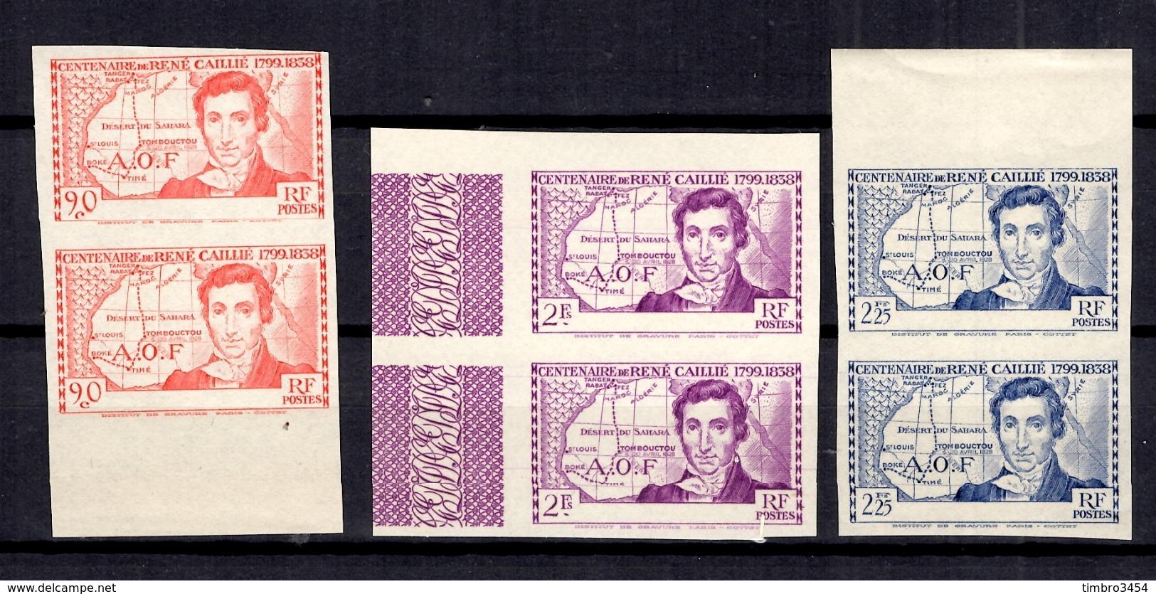 Grande Série Coloniale Caillé 1939 Les Trois Valeurs Non Dentelés Sans Légende Neufs ** MNH. Rare! TB. A Saisir! - 1939 Centenaire De René Caillé