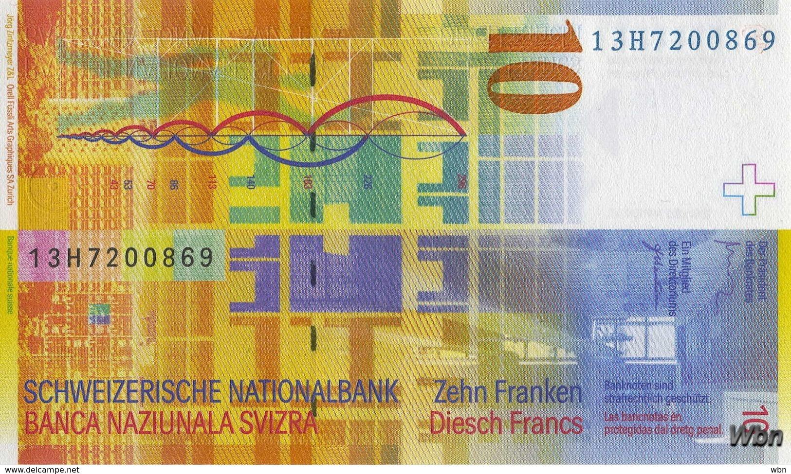 Suisse 10 Francs (P67e) 2013 (Pref: H) -UNC- - Suiza