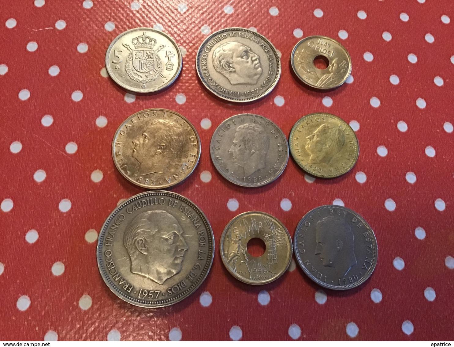 LOT DE 9 Pièces ESPAGNE - Munten & Bankbiljetten