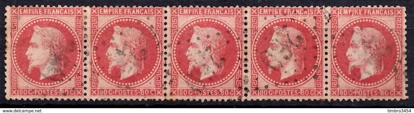 France YT N° 32 En Bande De Cinq Timbres Oblitérés. B/TB. A Saisir! - 1863-1870 Napoleon III With Laurels