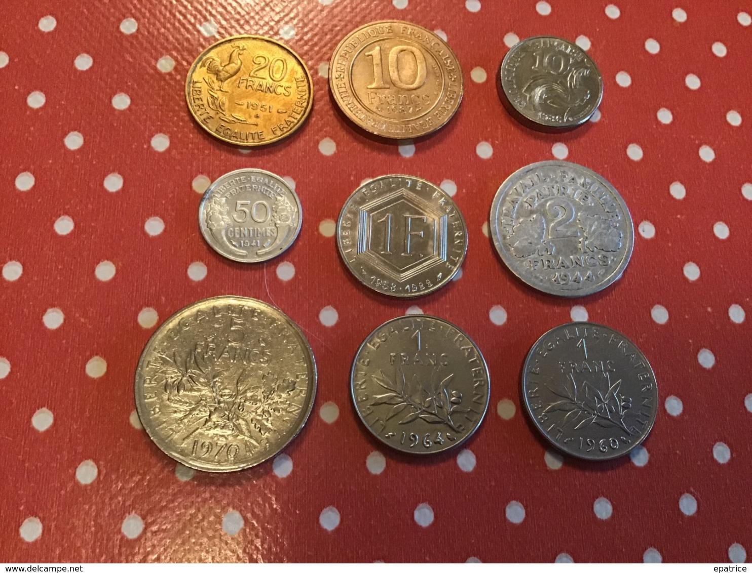 LOT DE 9 PIÈCES FRANÇAISES - Munten & Bankbiljetten