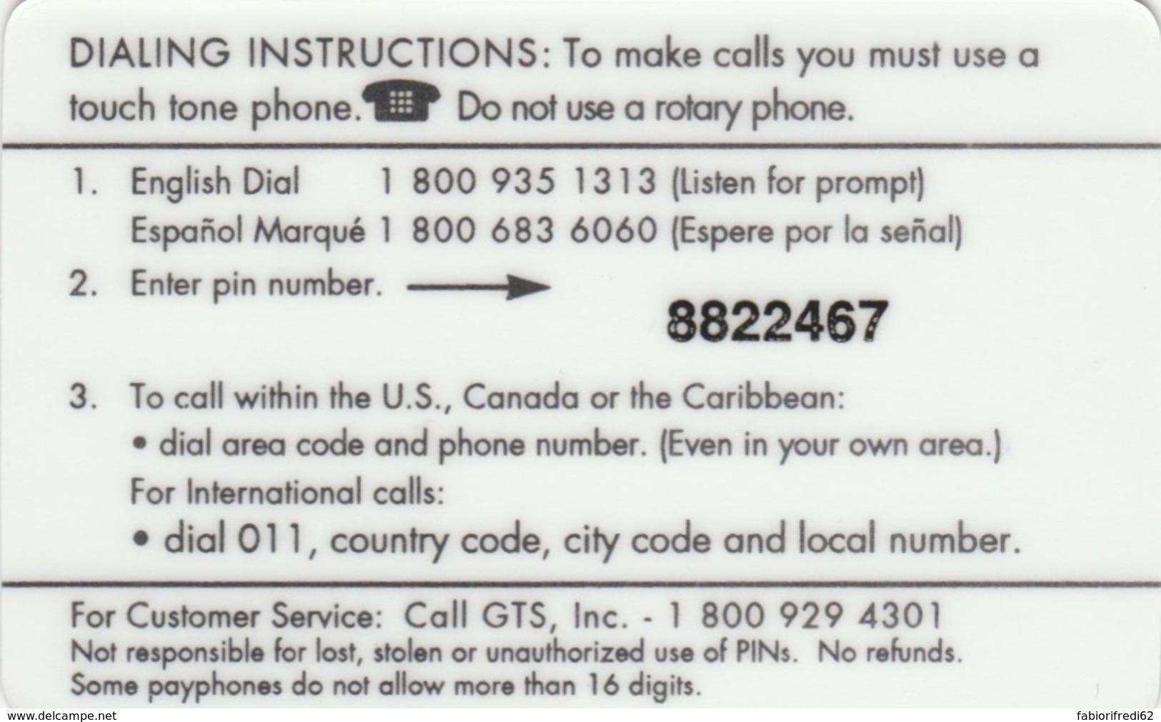 PREPAID PHONE CARD STATI UNITI (E52.10.6 - Andere