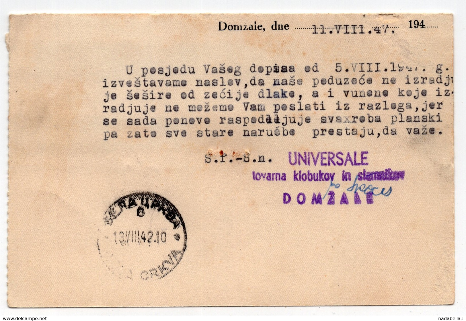 1947 YUGOSLAVIA, SLOVENIA, TPO KAMNIK-LJUBLJANA NO. 78,  CORRESPONDENCE CARD, UNIVERSALE , DOMZALE - 1945-1992 Socialist Federal Republic Of Yugoslavia