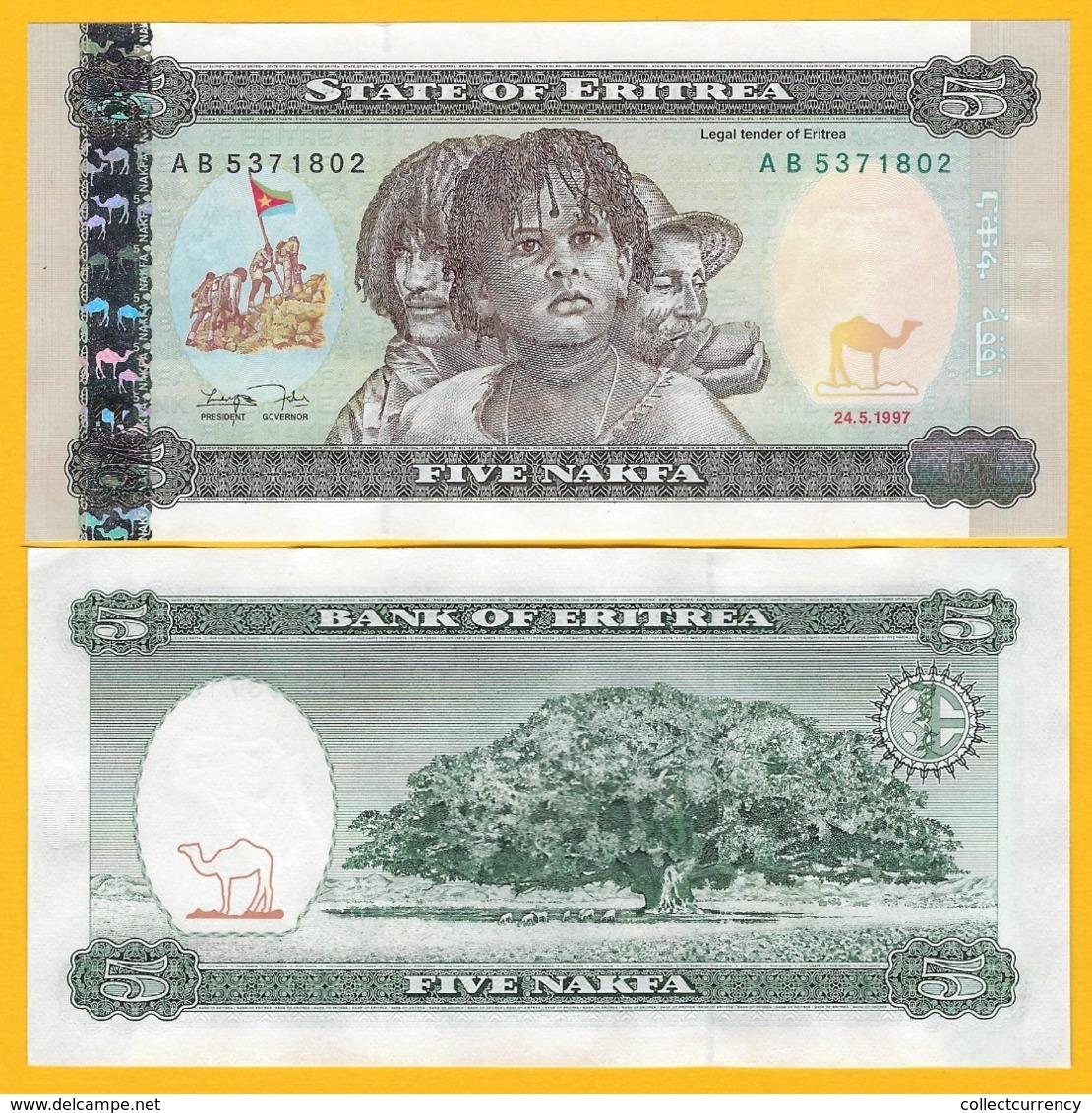 Eritrea 5 Nakfa P-2 1997 UNC Banknote - Eritrea