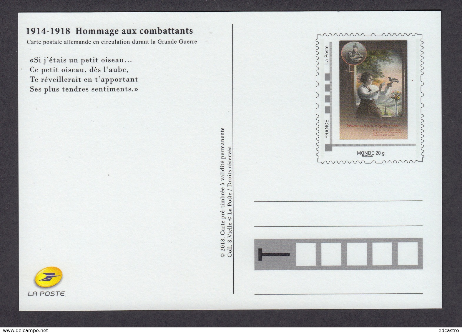 37.- FRANCE 2018 POSTAL STATIONERY - TRIBUTE TO THE SOLDIERS OF FIRST WORLD WAR - Prima Guerra Mondiale