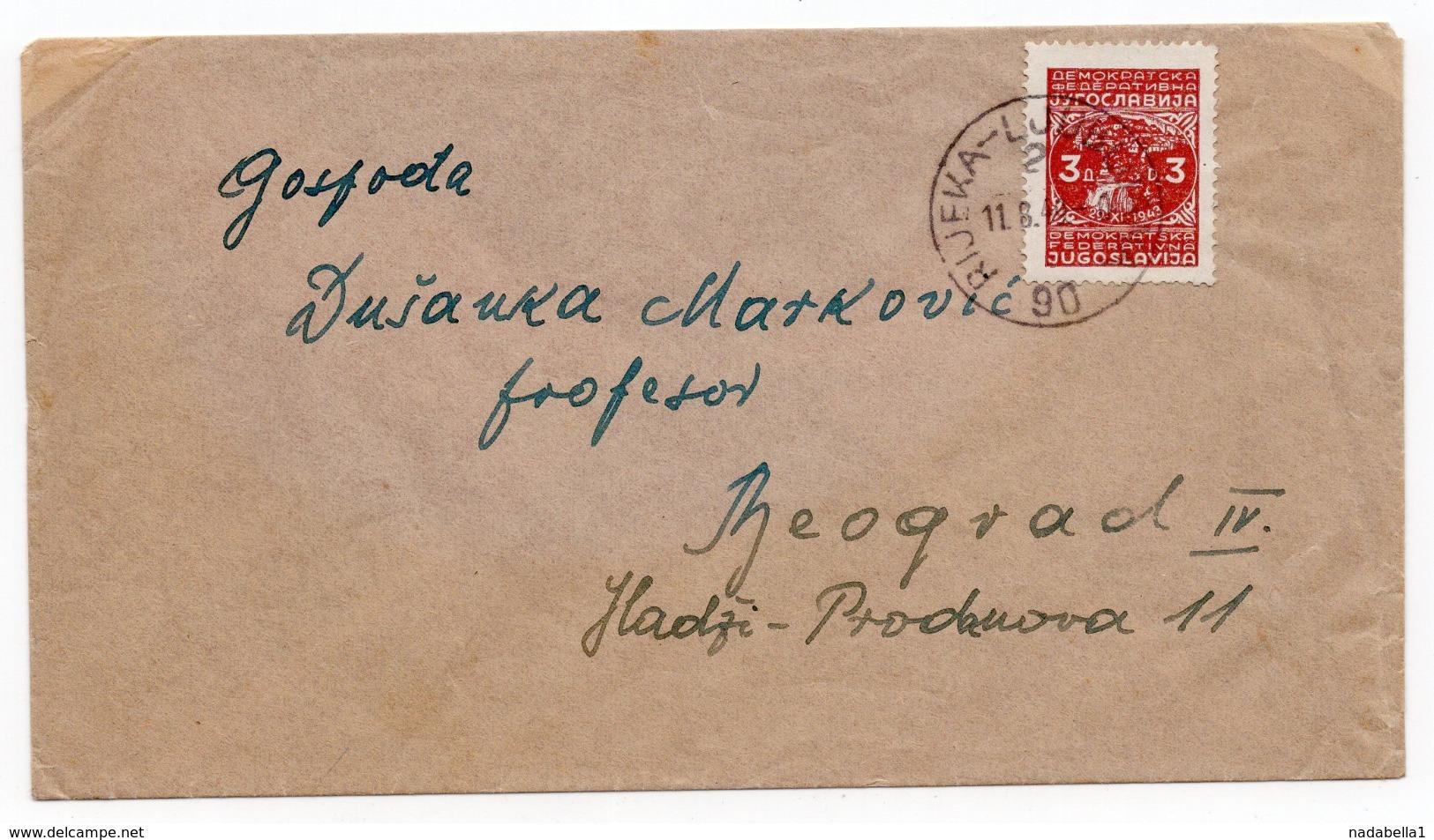 1949 YUGOSLAVIA,CROATIA, RIJEKA TO BELGRADE, TPO RIJEKA - LJUBLJANA NO 90 - 1945-1992 Socialist Federal Republic Of Yugoslavia