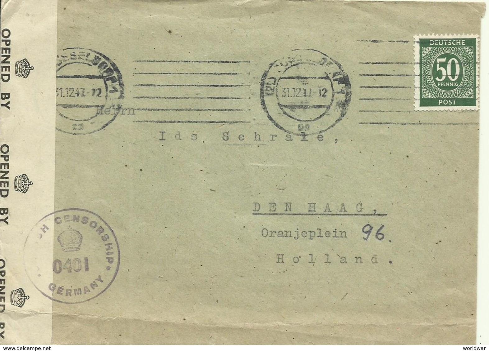 1947  Zensur Brief Von Düsseldorf Nach Den Haag   British Censorship Germany - Bizone