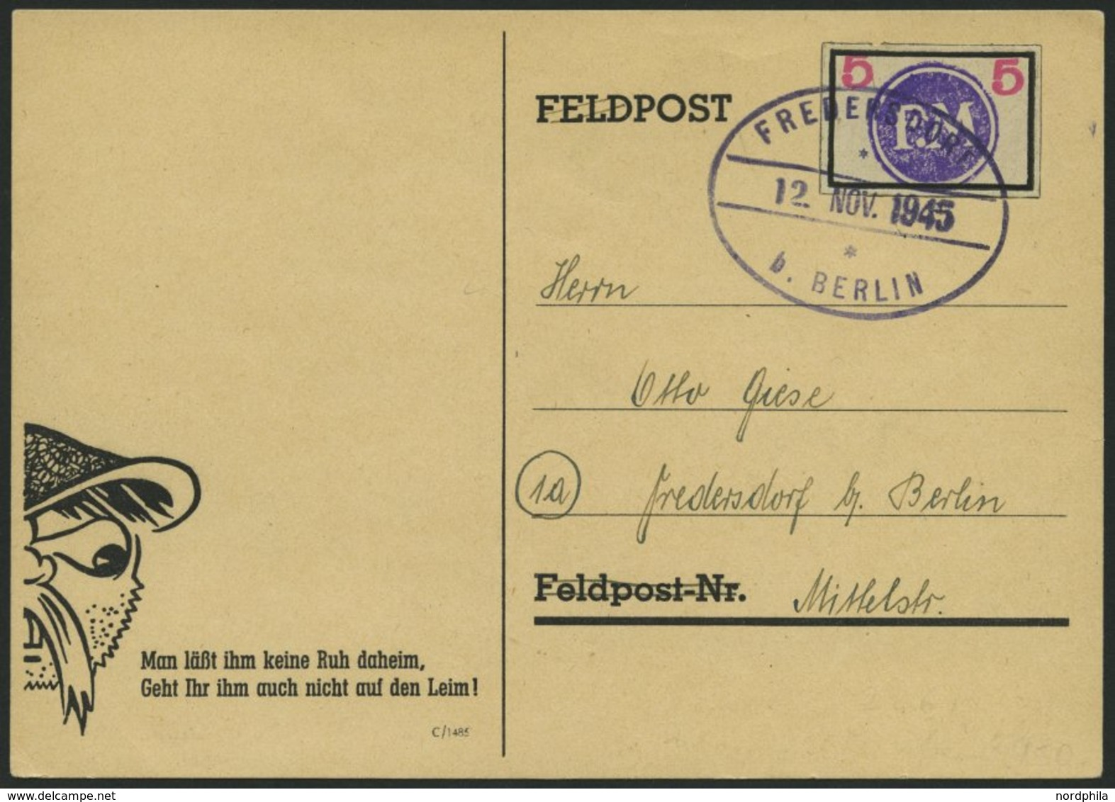FREDERSDORF Sp 226 BRIEF, 1945, 5 Pf., Rahmengröße 28x19 Mm, Große Wertziffern, Auf Postkarte, Pracht, Gepr. Zierer - Posta Privata