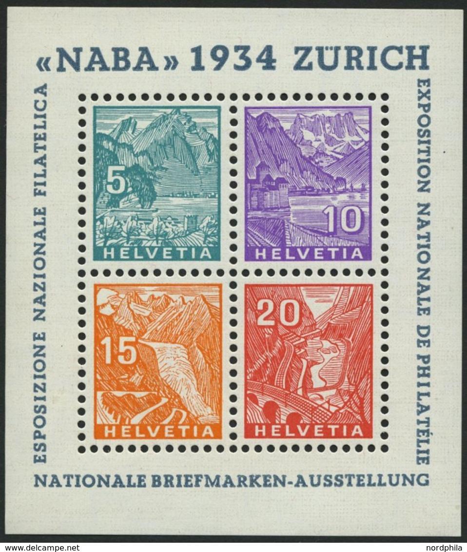 SCHWEIZ BUNDESPOST Bl. 1 **, 1934, Block NABA, Pracht, Mi. 900.- - 1843-1852 Federal & Cantonal Stamps