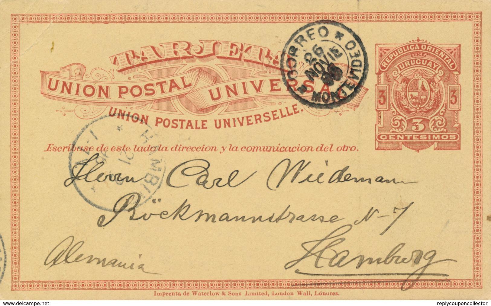 MONTEVIDEO / URUGUAY - 1896 , Ganzsache Nach Hamburg - Uruguay