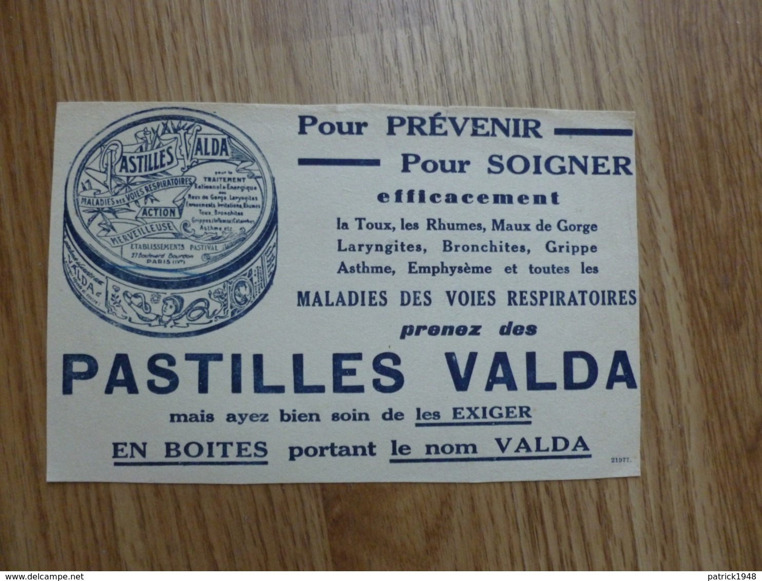 BUVARD PASTILLE VALDA - Produits Pharmaceutiques