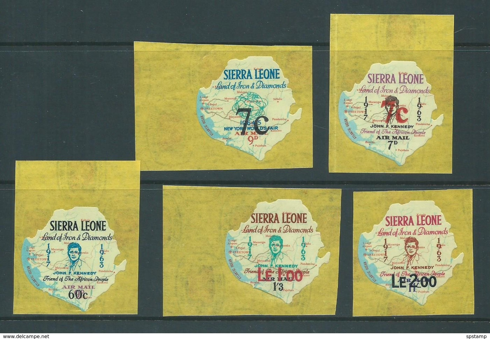 Sierra Leone 1964 - 1965 Air Mail Surcharges On Self Adhesives Set 5 Fresh MLH - Sierra Leone (1961-...)