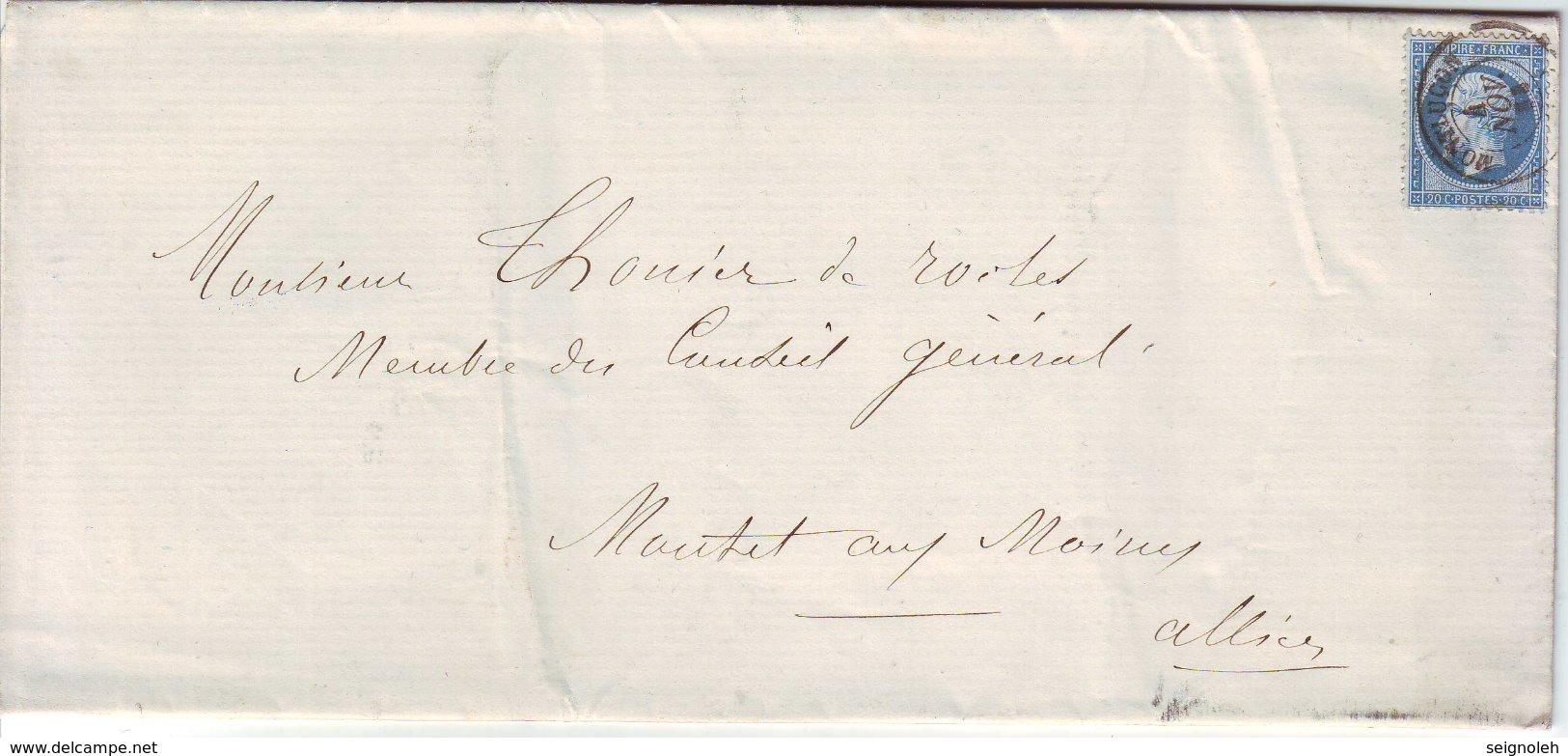 N° 22 ( RARE SUR FAIRE PART !!! ) Obl Cachet à Date De MONTLUCON Allier Lettre Du 4 Novembre 1863 - 1849-1876: Période Classique