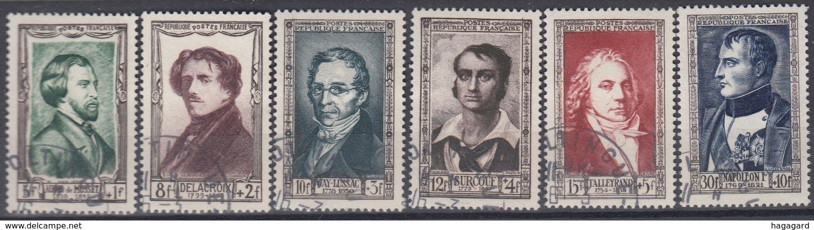 +B1602. France 1951. Célébrités. Yvert 891-96. Cancelled - France
