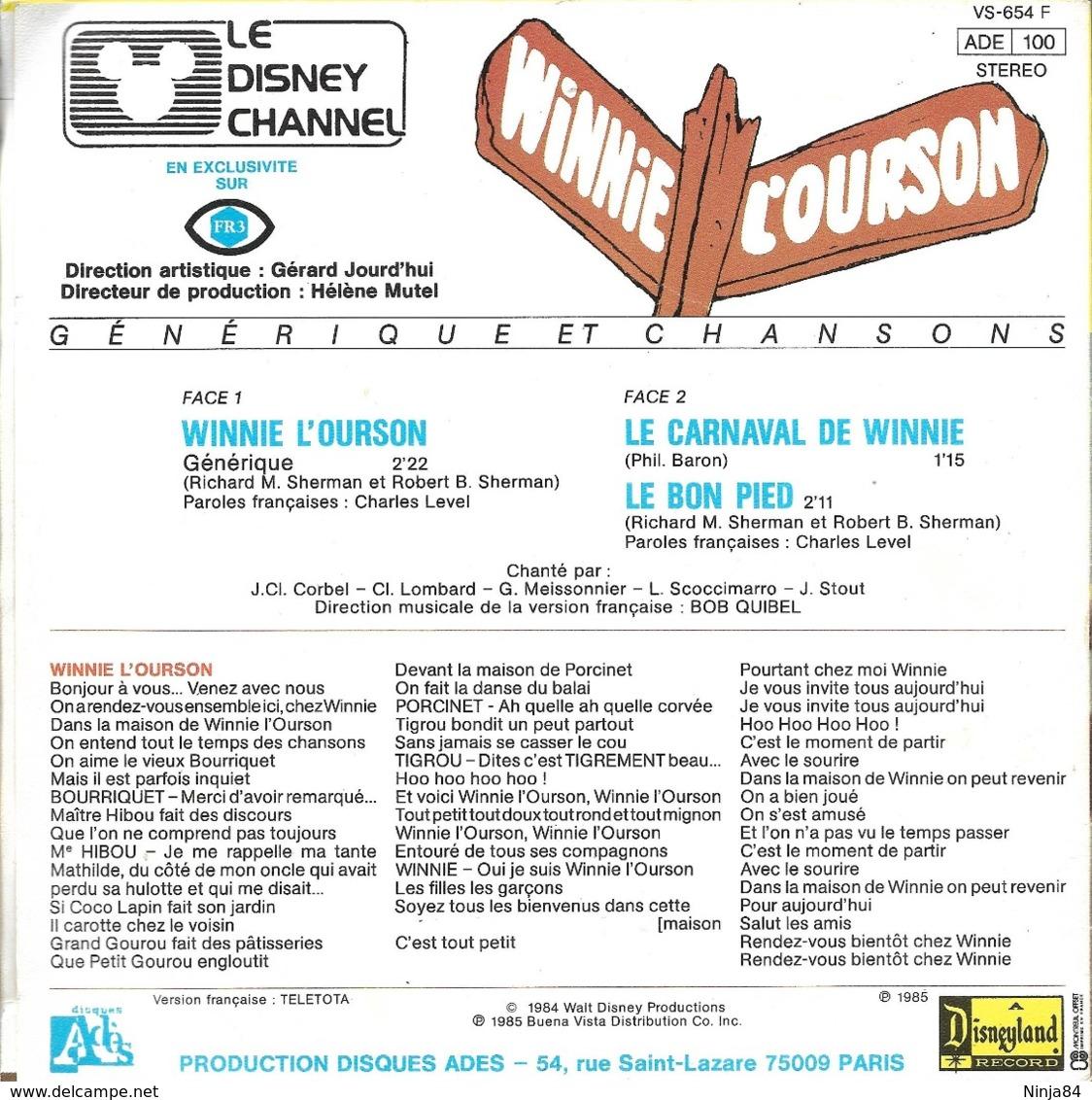 """B-O-F  Jean-Claude Corbel  """"  Winnie L'ourson  """" - Filmmusik"""
