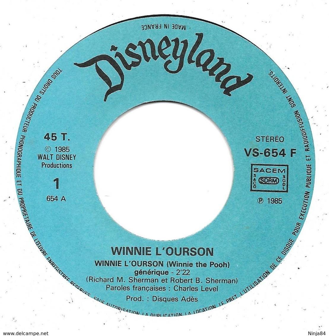 """EP 45 RPM (7"""")  B-O-F  Jean-Claude Corbel  """"  Winnie L'ourson  """" - Filmmusik"""
