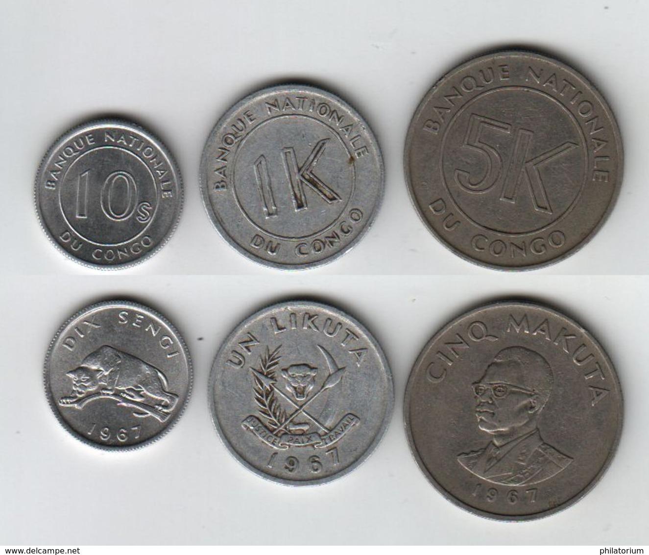 CONGO Dix Sengi + Un Likuta + Cinq Makuta 1967 10s + 1K + 5K - Congo (Repubblica 1960)
