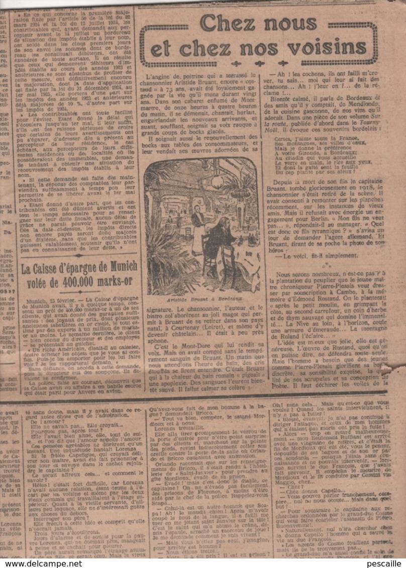 LA PETITE GIRONDE 16 02 1925 - NIAMEY - URN - T.S.F.- MAJORATION 10% IMPOTS - ARISTIDE BRUANT - AGEN - VILLENEUVE S/ LOT - Giornali