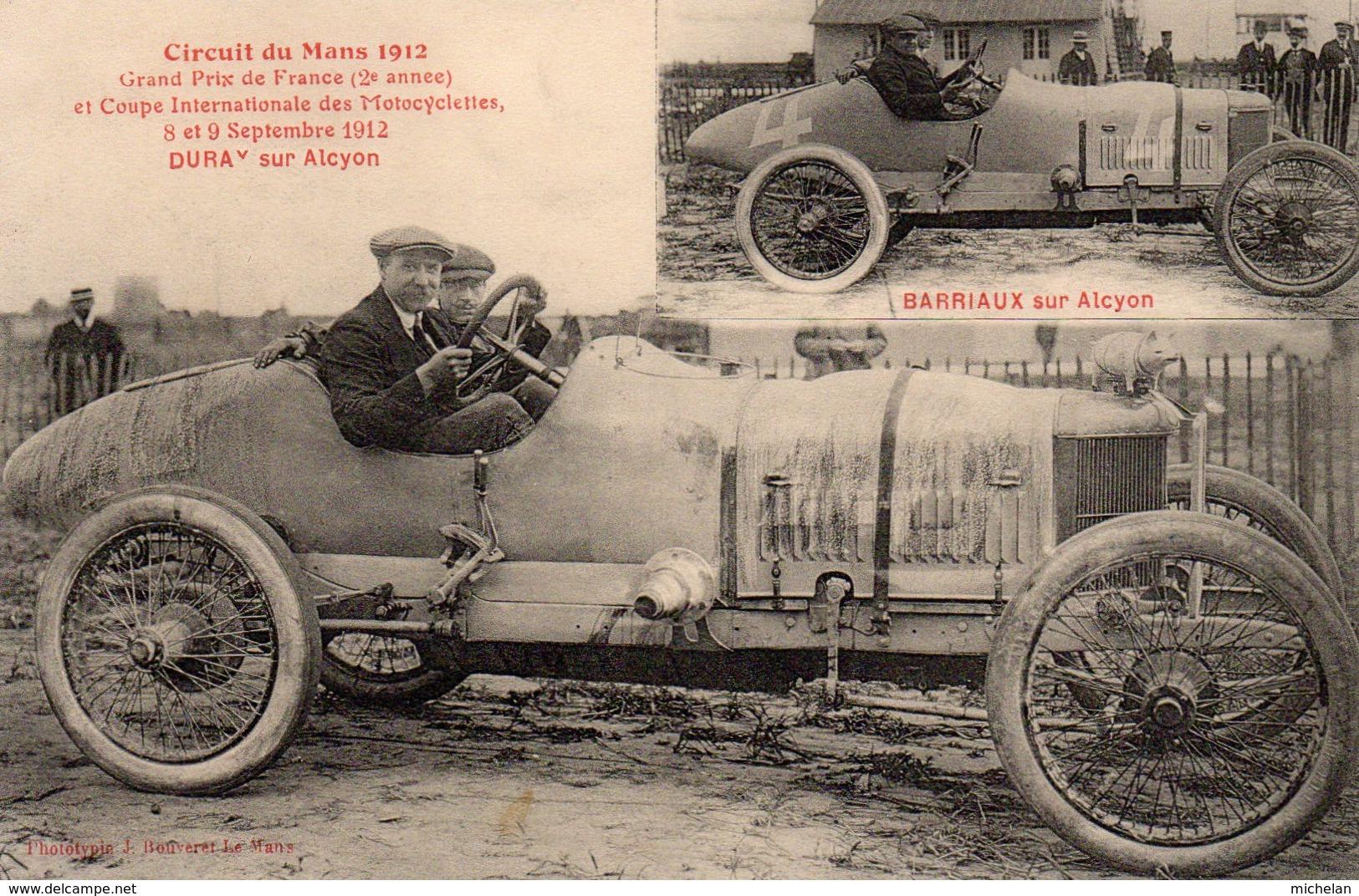 CPA CIRCUIT DU MANS 1912---GRAND PRIX DE FRANCE ( 2e ANNEE ) ET COUPE INTERNATIONALE DES MOTOCYCLETTES--DURAY SUR ALCYON - Le Mans