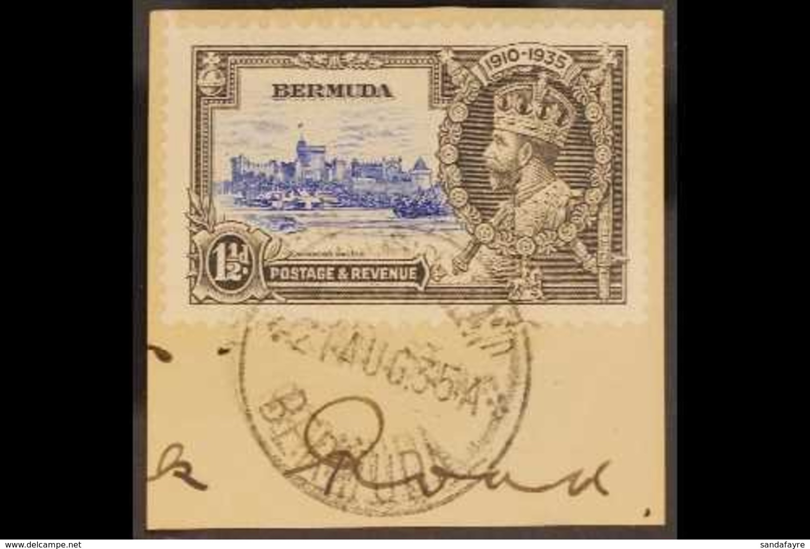 """1935 JUBILEE VARIETY.  1½d Ultramarine & Grey """"BIRD BY TURRET"""" Variety, SG 95m, Fine Cds Used Tied To A Small Piece. Lov - Bermuda"""