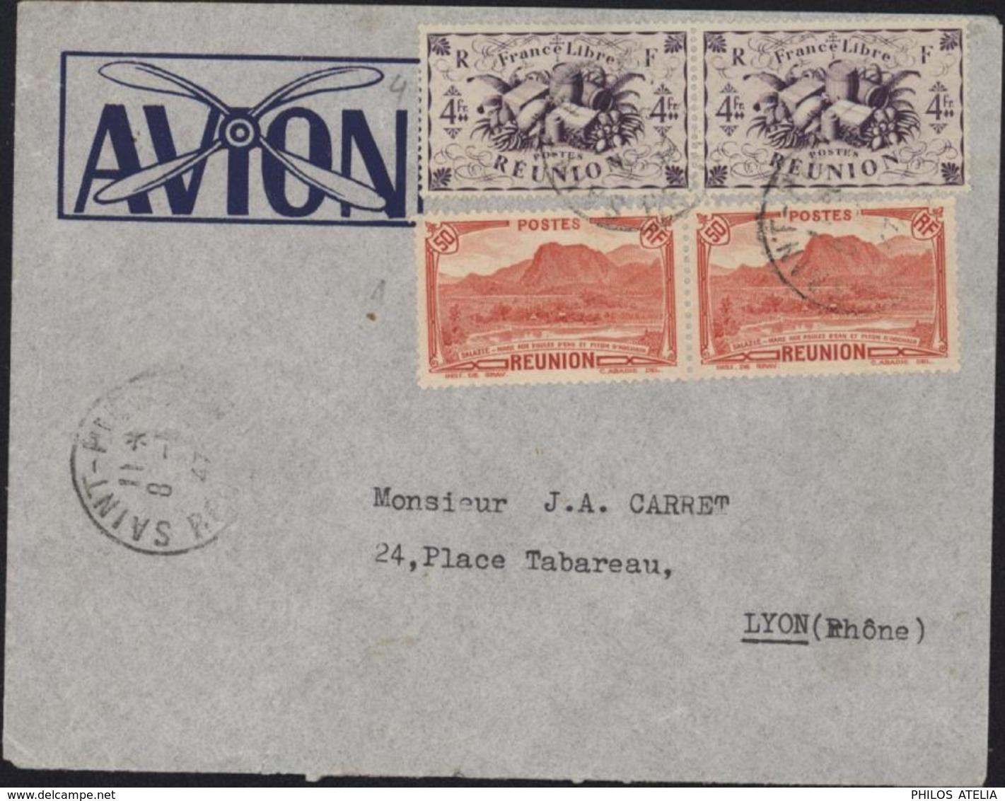 YT 136 X2 Salazie Piton D'Auchain 50c Rouge + 243 X2 Série Londres Violet Brun France Libre CAD St Pierre Réunion 8 5 47 - Covers & Documents