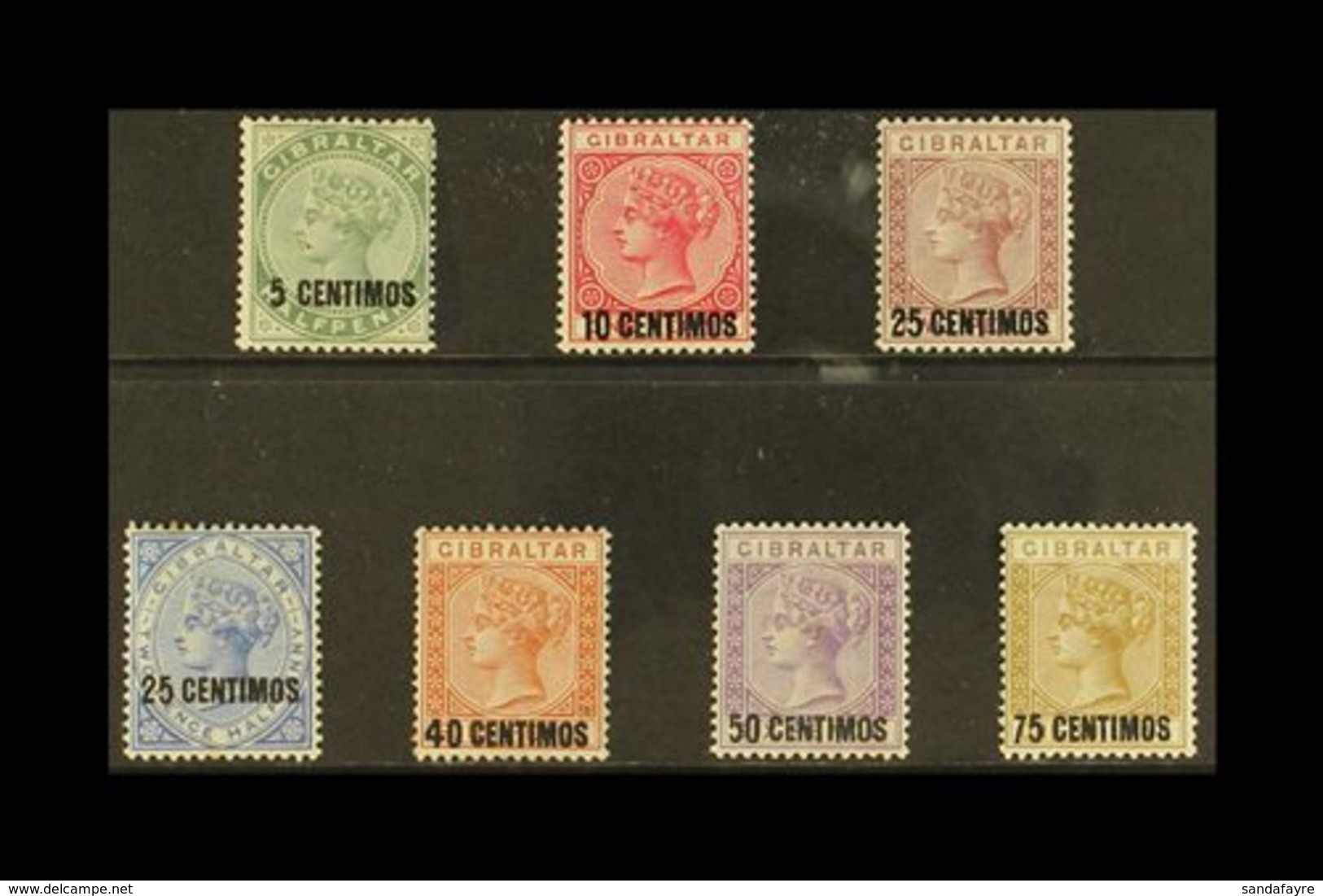 1889  Spanish Currency Surcharged Set, SG 15/21, Fine Mint (7 Stamps) For More Images, Please Visit Http://www.sandafayr - Gibilterra