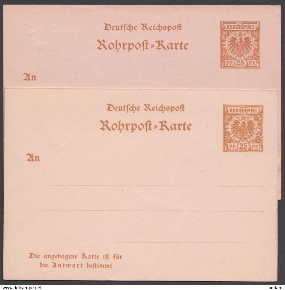 """RP 8/9 """"Krone/Adler"""", Beide Rohrpostkarten, Ungebraucht - Deutschland"""