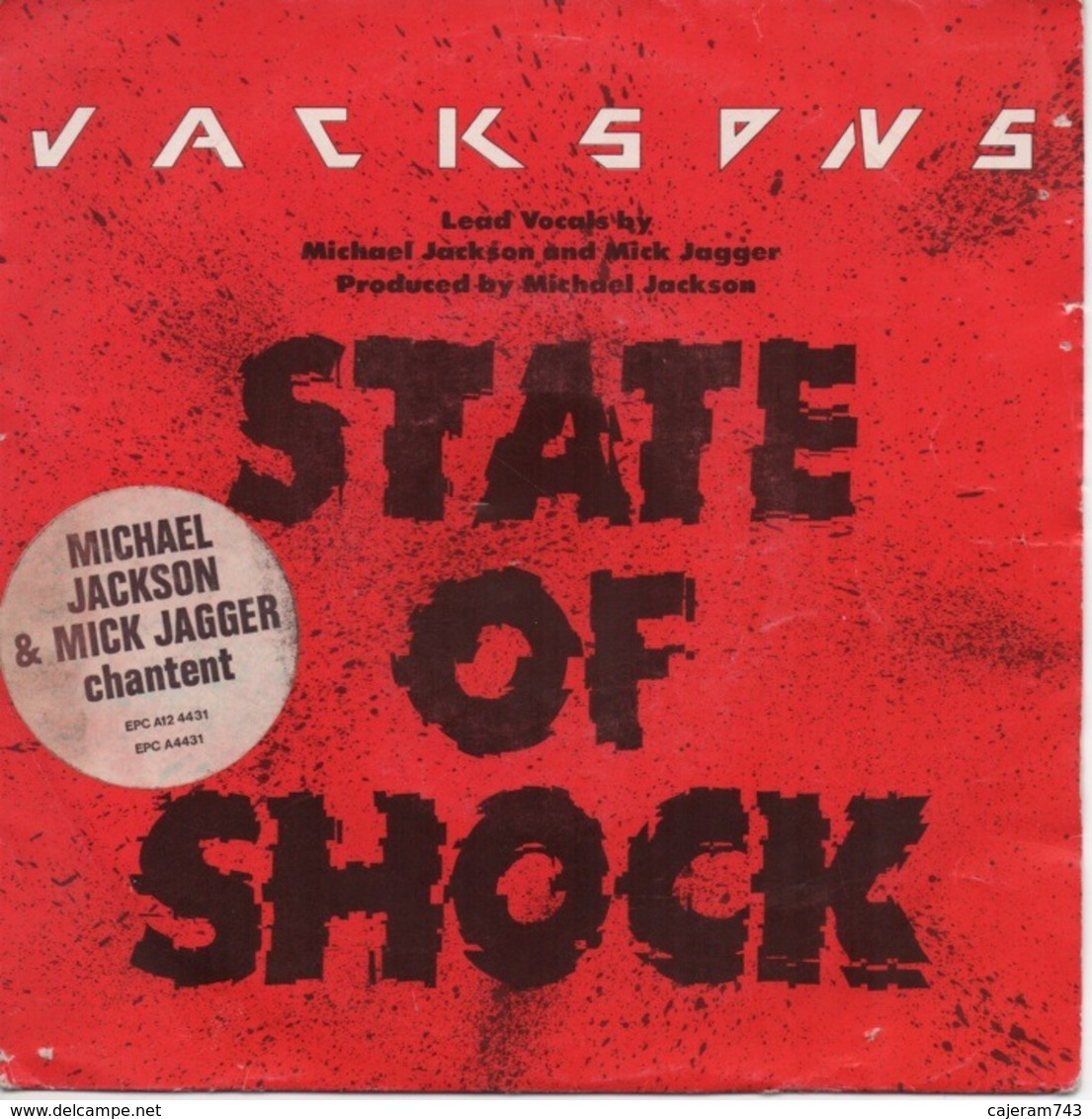 45T. THE JACKSONS. STATE OF SHOCK. Michael JACKSON & Mick JAGGER Chantent - Disco, Pop
