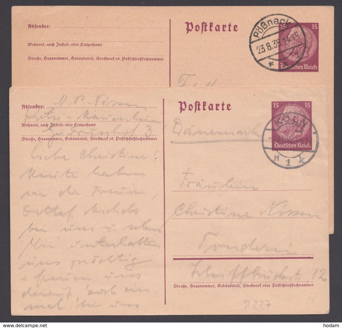 P 227 I, 2 Bedarfskarten Nach Schweden Und Dänemark - Deutschland
