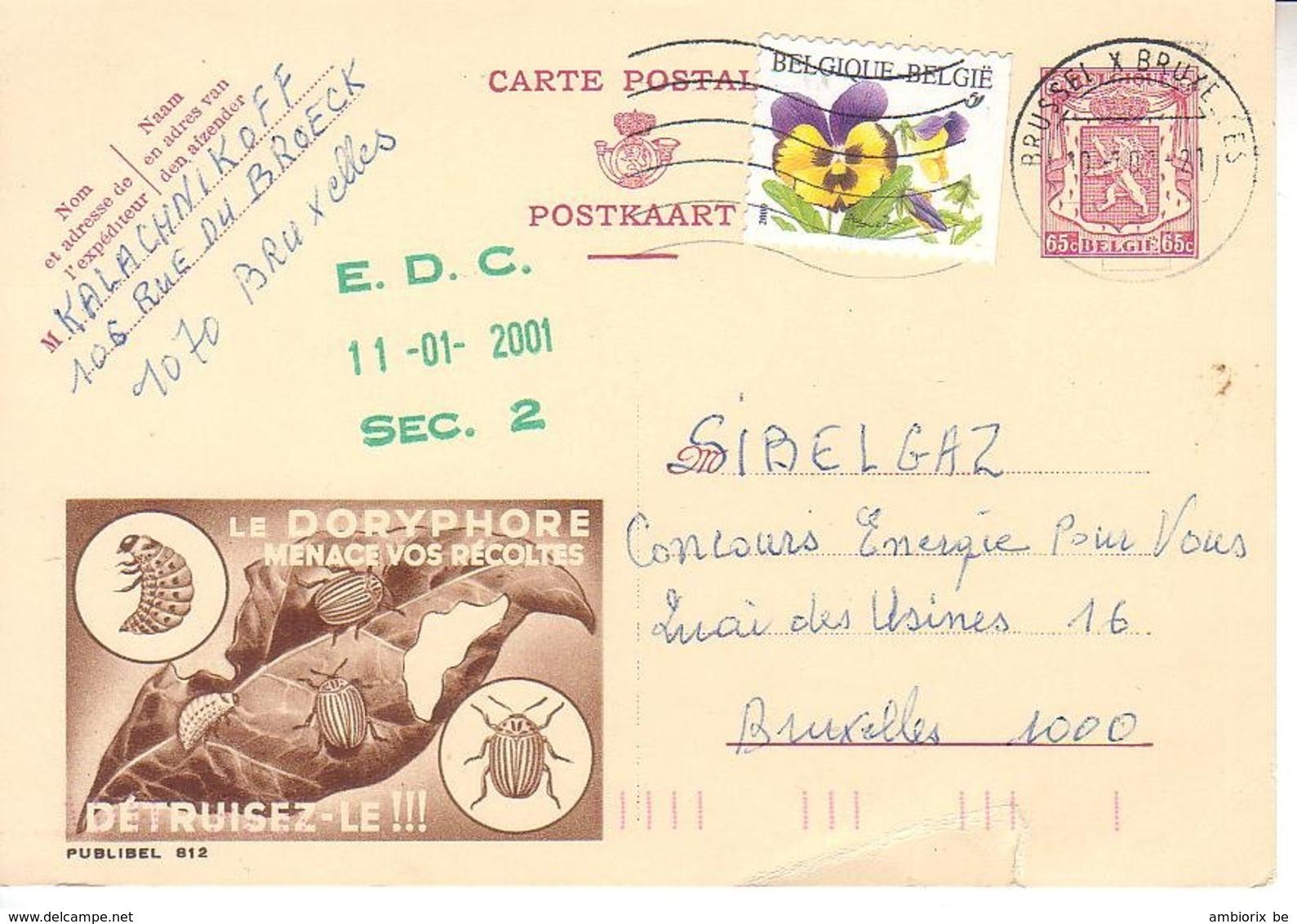 Publibel 812 - Oblitération Tardive - Stamped Stationery