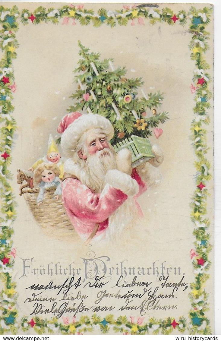 AK 0332  Fröhliche Weihnachten ( Santa Claus ) - Litho-Karte Um 1901 - Santa Claus